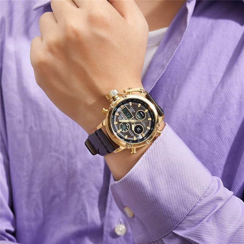 Relojes deportivos digitales analógicos masculinos de doble pantalla negros dorados Dropshipping