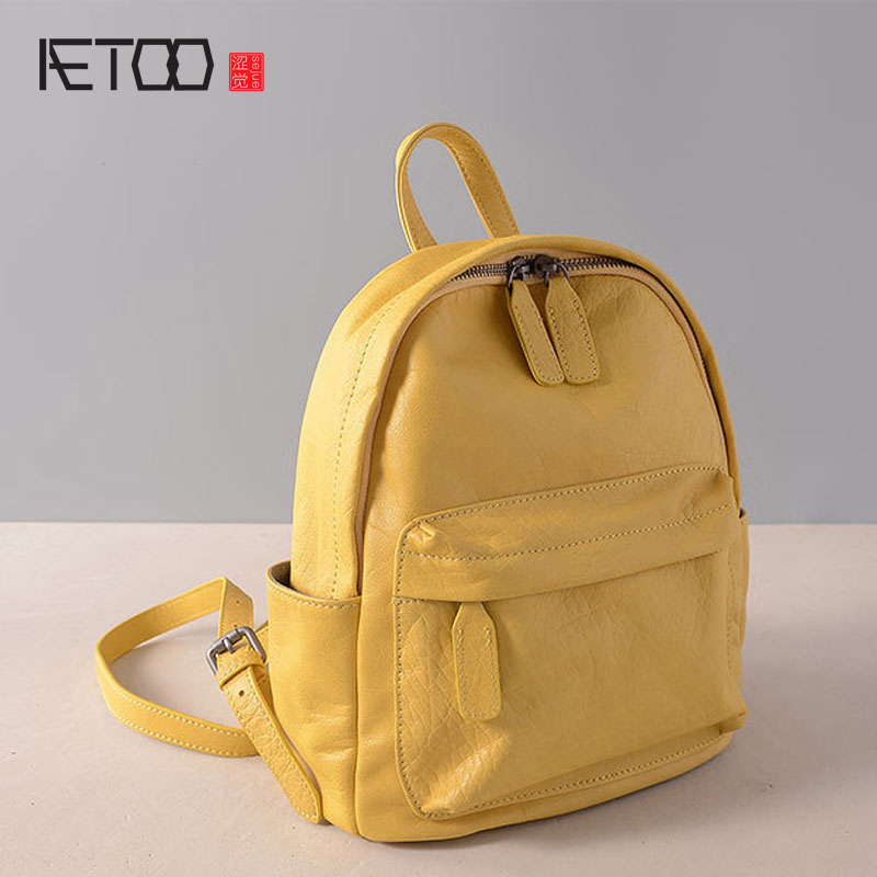 AETOO New casual simple shoulder bag women fashion travel first layer of leather backpack vintage cow leather backpack girls aetoo casual fashion shoulder bag leather new female package first layer of leather bags simple temperament leisure travel packa