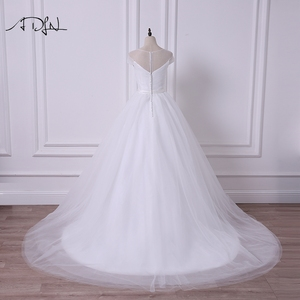 Image 2 - ADLN Einfache Sheer Neck Cap Sleeve Prinzessin Puffy Hochzeit Kleid Robe de Mariee A linie Tüll Weiß/Elfenbein Brautkleid angepasst
