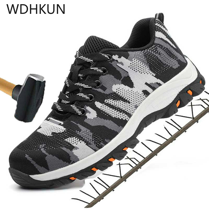 WDHKUN Outdoor Camouflage Steel Toe Shoes Men Safety Work Boots Puncture Proof Construction Safety Boots Military Work