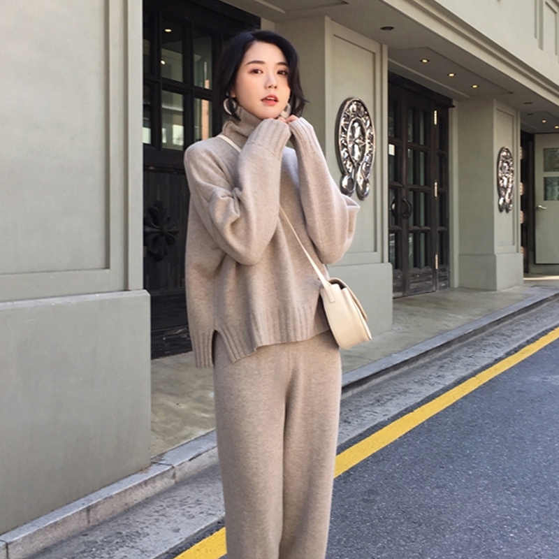 CBAFU autumn spring knitted tracksuit turtleneck sweatshirts women suit clothing 2 piece set knit pant female pants suit D226