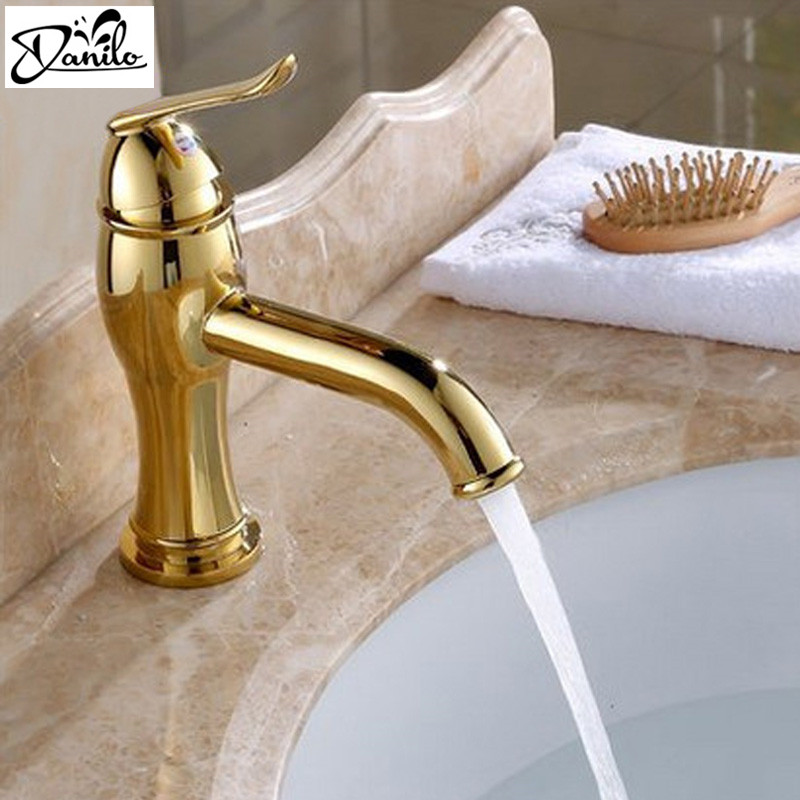 Cheap Modern Vintage Bathroom Sink Faucet Gold Hot Cold Bathroom Faucet Single Hole Bath Mixer Taps