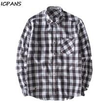 ICPANS Casual Shirt 45% Cotton + 15% Linen +40% Polyester Long Sleeve Plaid Shirts Men 2019 Autumn Spring Plus Size XXXL 4XL