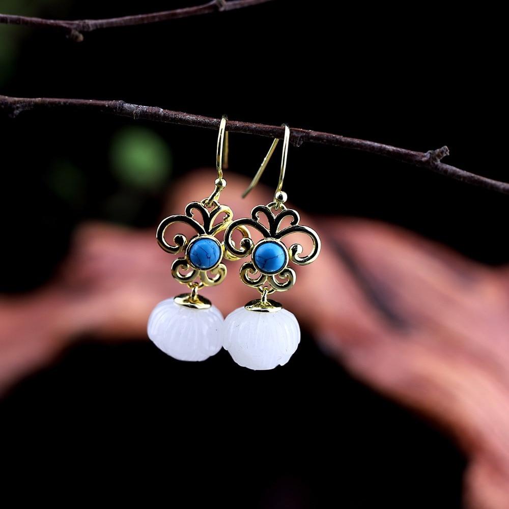 Fashion Natural Jade Drop Earrings For Women 2018,Elegant Earrings 925 Silver Fine Jewels For Wedding Party Gift pair of elegant faux white jade hoop earrings for women page 2