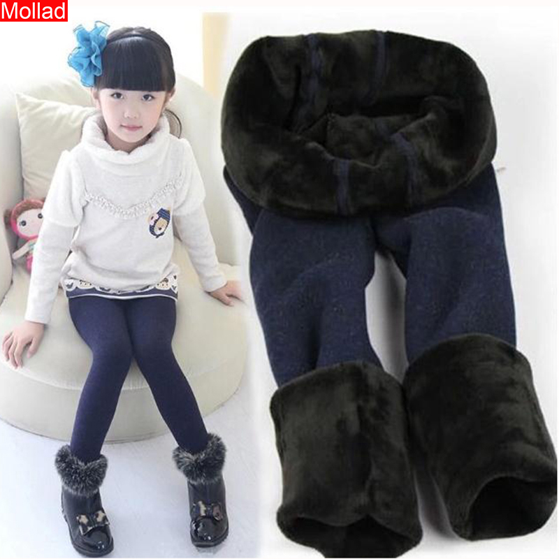 Mollad 2019 High Quality Winter Fur Girls Leggings Children Pants Kids Thick Warm Elastic Waist Colorful Cotton Girl Pants
