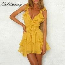 Sollinarry Women Dress Green Sexy Chiffon Casual Dress Bohemian Beach Party Dress Solid Ruffles Yellow DressVestidos