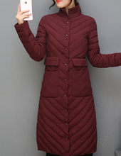High Quality Wadded Jacket Women Cotton Long Coat 2017 New Fashion Stand Collar Thin Warm Winter Chaquetas Parkas Outwear