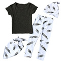 4 PCS Cute Feathers Boy&Girl Baby Clothes Set Black Short-sleeve T-shirt + Bandana Bibs + Beanie Hat + White Leggings YM42TZ