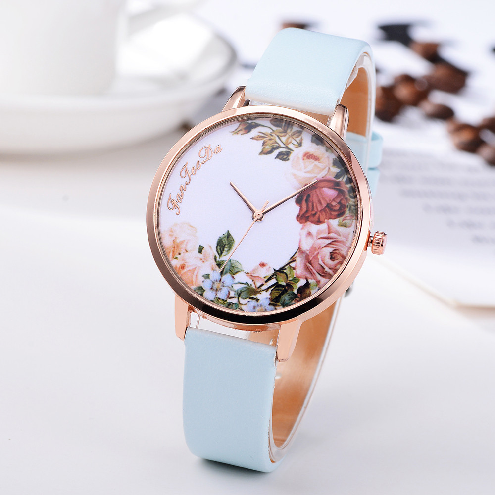 Brand Women Bracelet Watch Fashion Rose Gold Flowers Leather Simple Women Dress Watches Luxury Business Gift Clock Watch A40