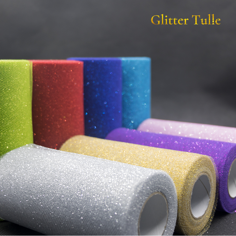 Image 3 - 25Yards Glitter Sequin Tulle Roll Wedding Decoration Gold Laser Organza Silver Sparkly Glitter Sequin Tulle  Mesh Party Supplies-in Party DIY Decorations from Home & Garden