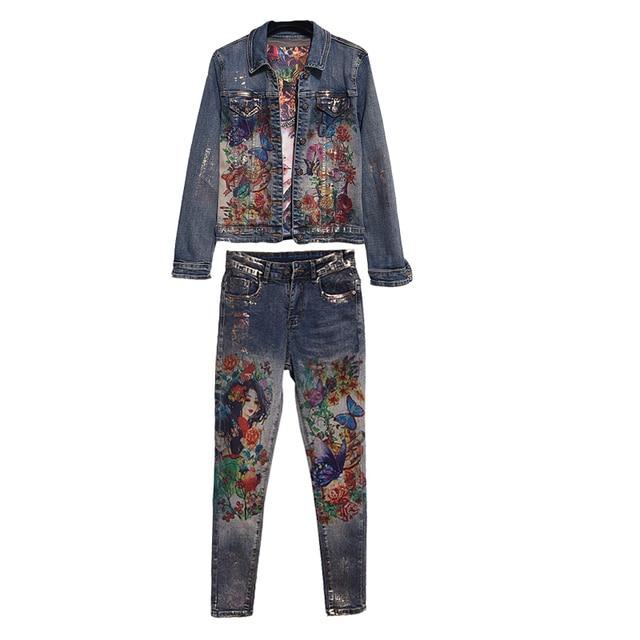 2 piece set women Flowers Print Denim Jeans Jacket Pants Suit Lady Two Pcs Elastic Material Painting Trends Women Matching Set