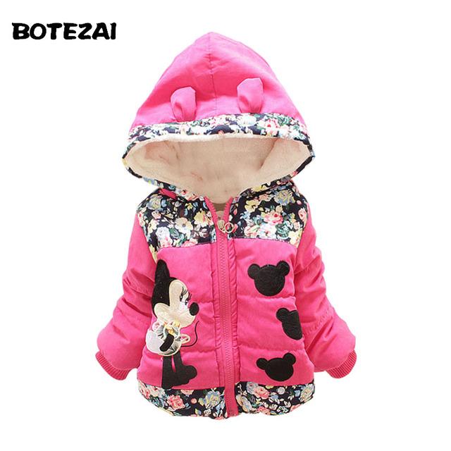 Nuevo 2015 Autumn & Winter Niños Minnie Capucha de La Chaqueta y capa Del Bebé Ropa de Las Muchachas Niños Toddle Cálido Abrigo de Edad 1-4 T