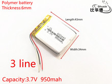 3 line 3.7V 950mAh 603443 tablet battery Rechargeable Battery For Mp3 MP4 MP5 GPS mobile