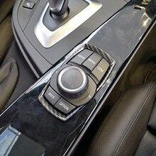 In Fibra di carbonio Stile Multimedia Manopola Bottoni Copertura Decorazione Assetto Per BMW 1 2 3 4 Serie 3GT F20 F30 ABS accessori Per Interni auto