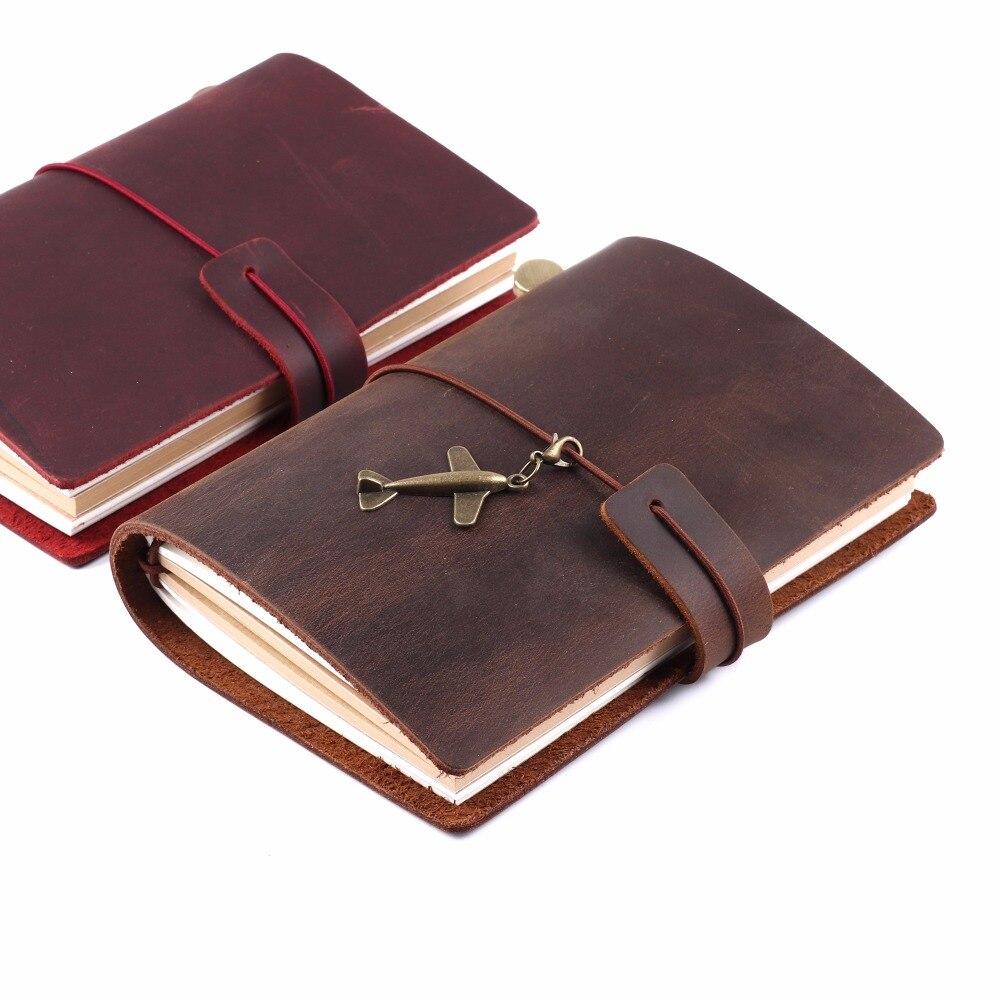 100% Genuine Leather Passport Notebook Handmade Cowhide Vintage Style Travel Journal Sketchbook Planner Spiral Diary vintage style 3colors top cowhide 100
