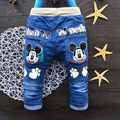Hot Moda outono Crianças Calças de Brim calças Bonito Dos Desenhos Animados do bebê Da Criança Das Meninas dos meninos calças Retas Elásticas Para As Crianças 2-4 anos