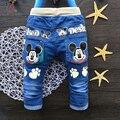 Hot otoño Moda Niños Jeans Lindo bebé de Dibujos Animados pantalones Niño niños Niñas pantalones Rectos Elásticos Para Niños 2-4 años