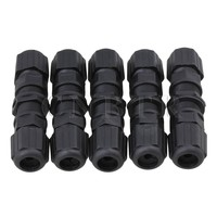 Black RJ45 M20 IP67 Protection Double Ended Waterproof Connector M1 Set Of 5