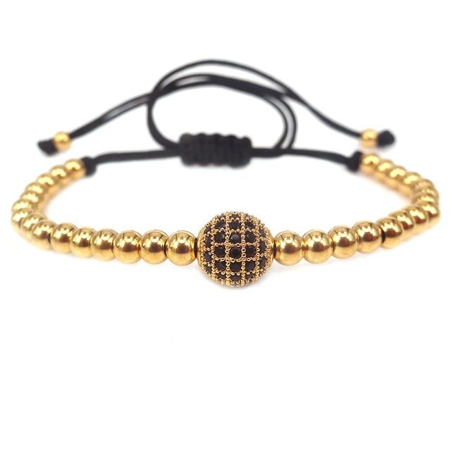 d47abfd86086 € 6.34 30% de DESCUENTO Marca Oro color 8mm micro Pave negro CZ Ball bead &  4mm Acero inoxidable Cuentas trenzado macrame pulseras hombres Mujeres ...
