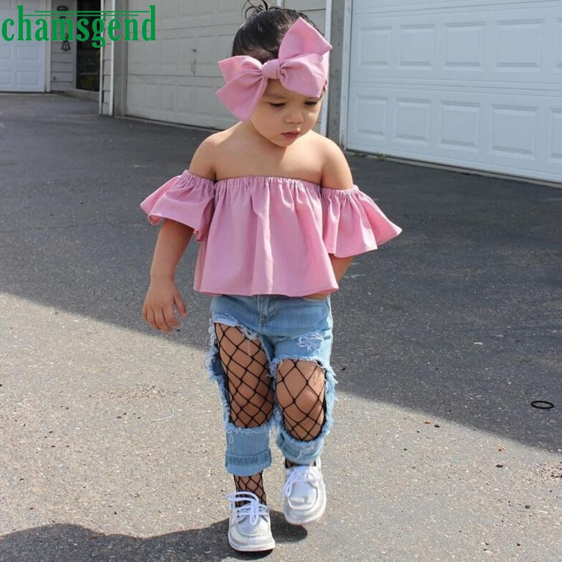 CHAMSGEND Toddler Kids Baby Girl Off Shoulder Ruffle T ...