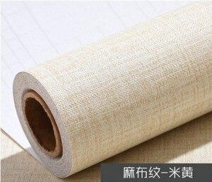 Image 1 - 5M x 60CM נוסף עבה פשתן מרקם טפט רגיל שיפוץ רהיטי מדבקת עצמי דבק טפט Roll לשינה דקור