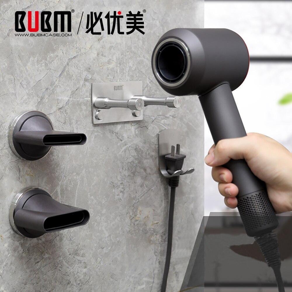 Bubm dyson supersônico secador de cabelo suporte montagem na parede, organizador do banheiro aço inoxidável para dyson secador de cabelo ferramentas cuidados