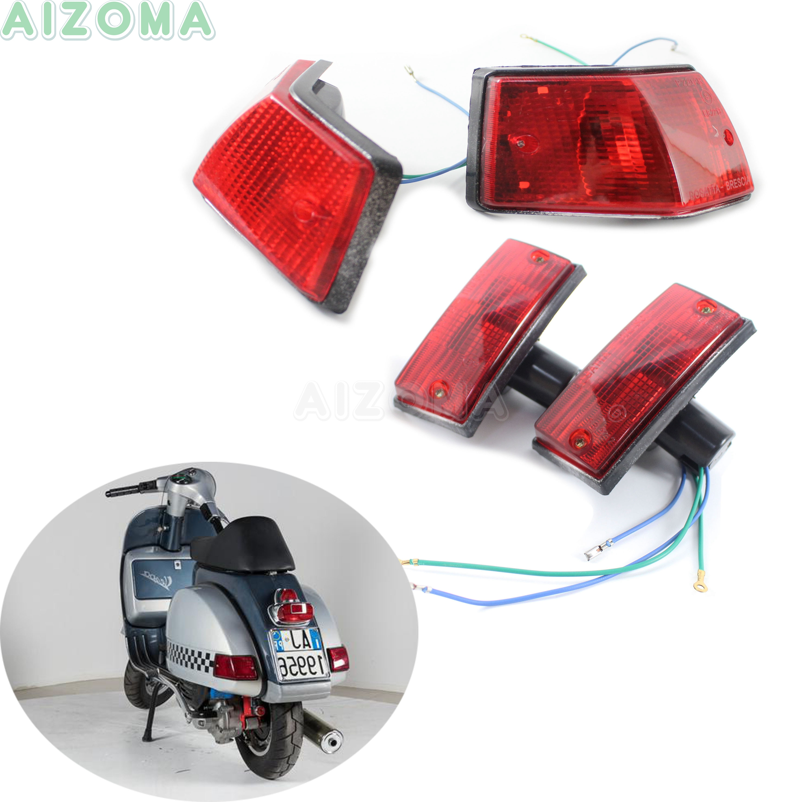 4pcs Red Scooter Motorcycle Front And Rear Turn Signal Indicator Blinkers Light For Vespa P PX VSX VNX And Stella