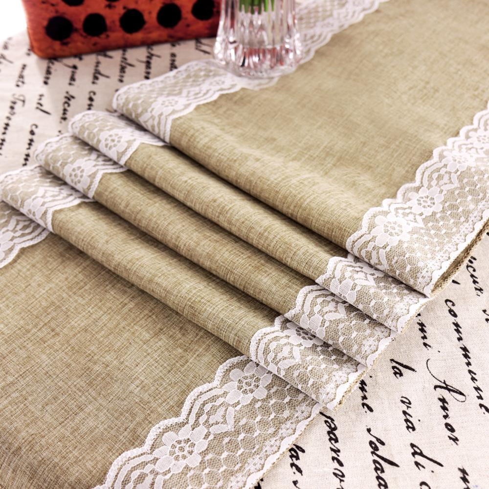 Vintage Lace Jute Grey Table Runner Original Ecology Style Jute Country Party Wedding Decoration Birthday Home Decor Supplies