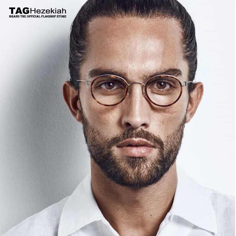 2019: Kacamata Kacamata Titanium Tidak Ada Sekrup Tidak Ada Pengelasan Buatan Tangan Retro Kacamata Pria Wanita Bulat Kacamata Oculos Di Grau De
