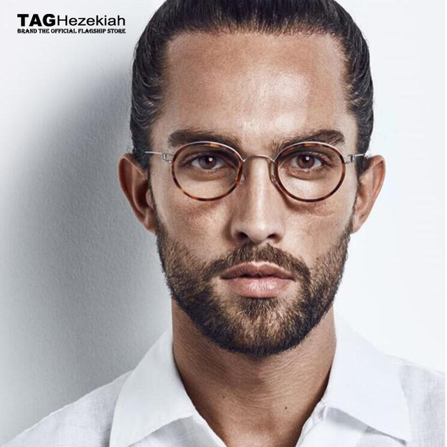 82fbc0b9eb240e 2019 merk TAG brilmontuur titanium Geen schroeven Geen lassen Handgemaakte  retro brillen mannen vrouwen ronde bril