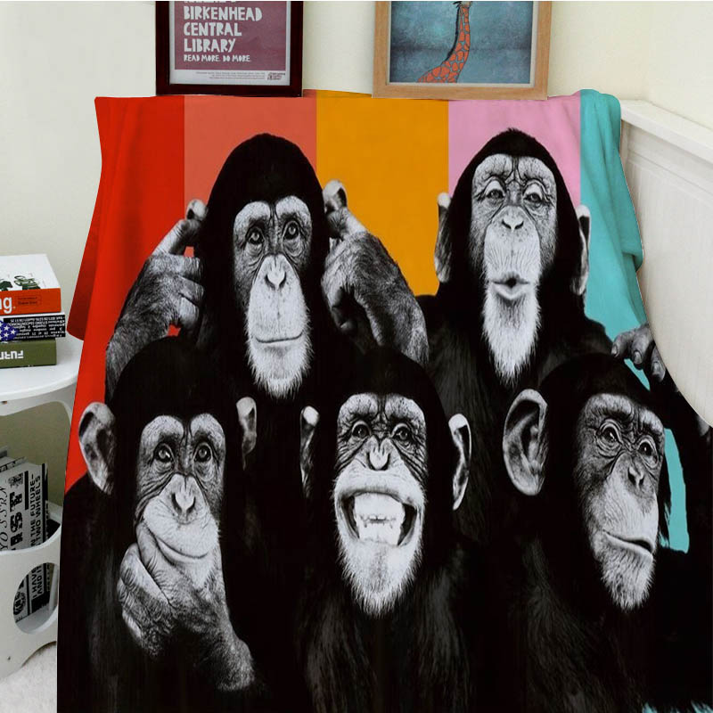 Blankets Comfort Soft Plush Easy Care Machine Wash Funny Orangutan Monkey Chimpanzee Animal Warm Throw Cobertor For Sofa BedBlankets Comfort Soft Plush Easy Care Machine Wash Funny Orangutan Monkey Chimpanzee Animal Warm Throw Cobertor For Sofa Bed