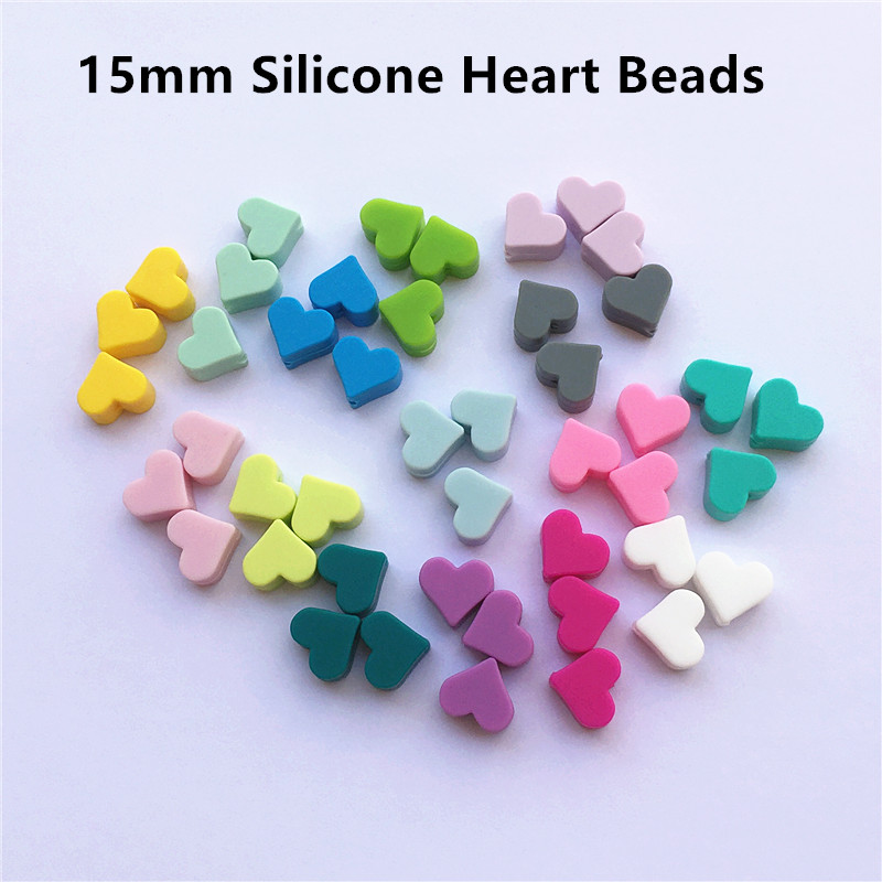 Chenkai 100pcs 15mm BPA Free Silicone Heart Teether Beads DIY Baby Shower Pacifier Dummy Necklace Jewelry Toy Accessories