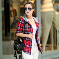 HOT 2015 New Fashion Ladies Elegant Plaid Long Sleeve Blouse Women Hooded Shirt Tops Cotton Plaid
