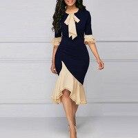 4XL женское платье большого размера модные элегантные офисные женские туфли Платья для вечеринок сезон: весна-лето сексуальный лук оборками ...