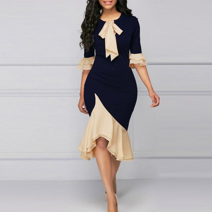 4XL Plus Size Women Dress Fashion Elegant Office Lady Party