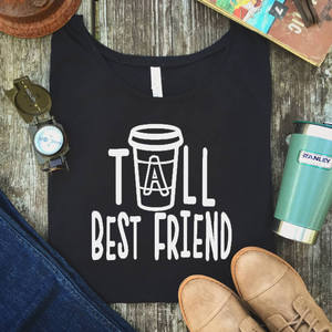 Cute Best Friend Tall and Short Matching T-Shirt BFF T Shirt Women for Coffee Lovers Tee Shirt Femme Cotton Bbf Causal Top Tees