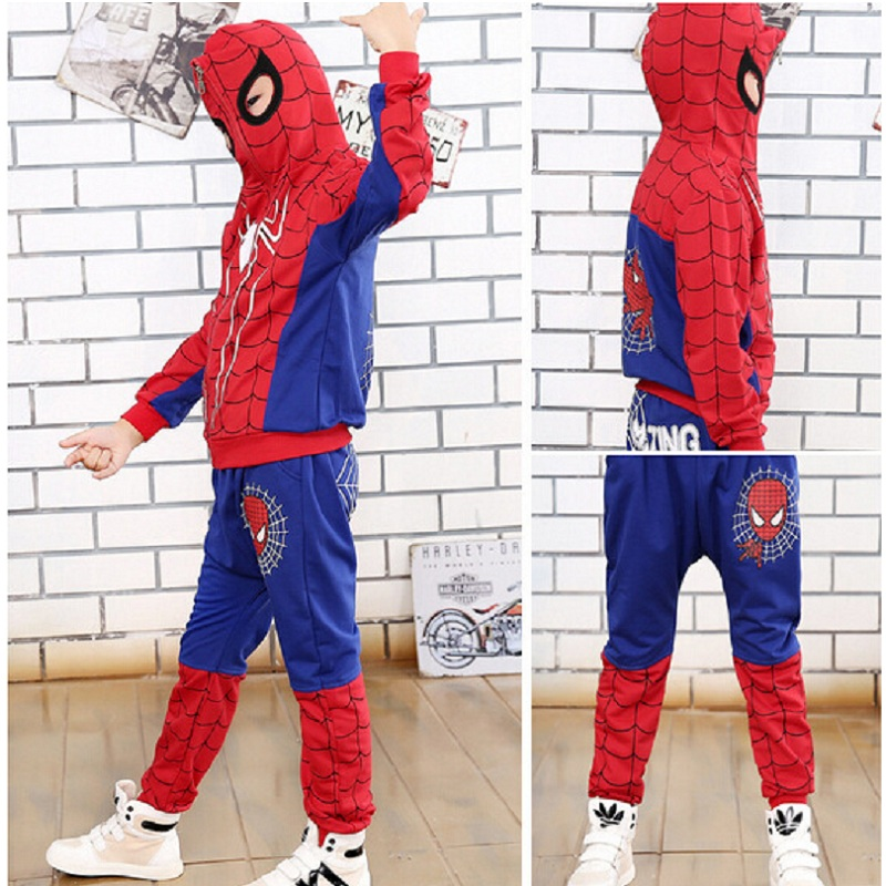 New 2015 Spring Autumn Children Boys Clothing Sets Kids Cartoon Printed Coat Spiderman Hoodie Casual Clothes Suit Free Delivery 2015 new arrive super league christmas outfit pajamas for boys kids children suit st 004