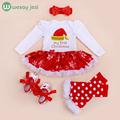 Baby rompers Christmas Costumes 4pcs Infant Toddler baby girl rompers Christmas Outfits newborn infant party dress jumpsuit
