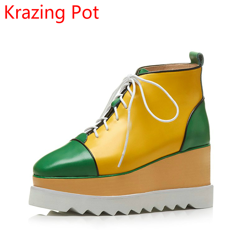Genuine Leather Square Toe Mixed Colors Flat with Wedges Platform Increased Casual Shoes Winter British School Mid- Boots L01 цена 2017