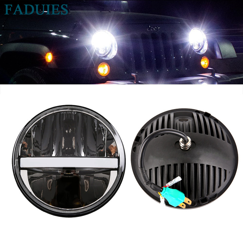 FADUIES 7 Inch Round LED Headlights 60W Hi/Lo Beam Angle Eye DRL & Amber Turn Signal For Jeep Wrangler JK TJ LJ CJ Hummer H1 H2 2pcs for jeep wrangler jk tj cj patrol gr y60 hummer h2 7 round led headlight with white drl amber signal light for uaz hunter