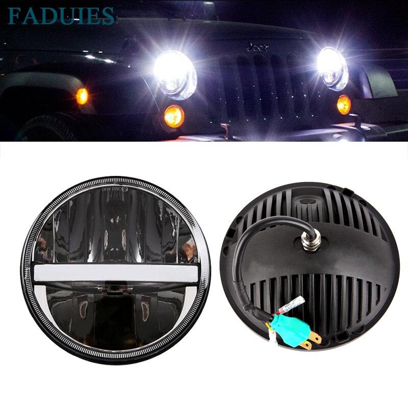Faduies 7 дюймов круглый светодиодный Фары для автомобиля 60 Вт Hi/lo угол луча глаз DRL ...