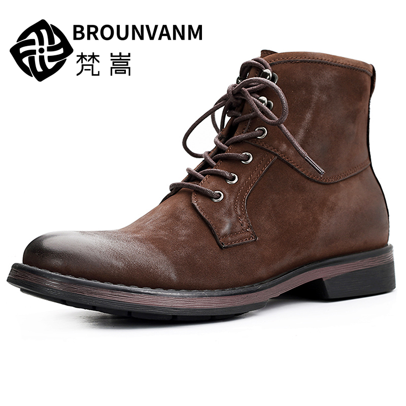 Martins boots men's shoes in the middle of the autumn season men's shoes Joker high-top shoes British retro tooling men's boots libby in the middle