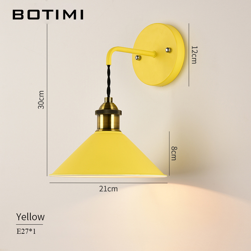 BOTIMI LED Wall Lamps Retro Wall Sconce Colorful Metal Wall lights Bedside Lamp For Home Reading Lighting Fixtures in LED Indoor Wall Lamps from Lights Lighting
