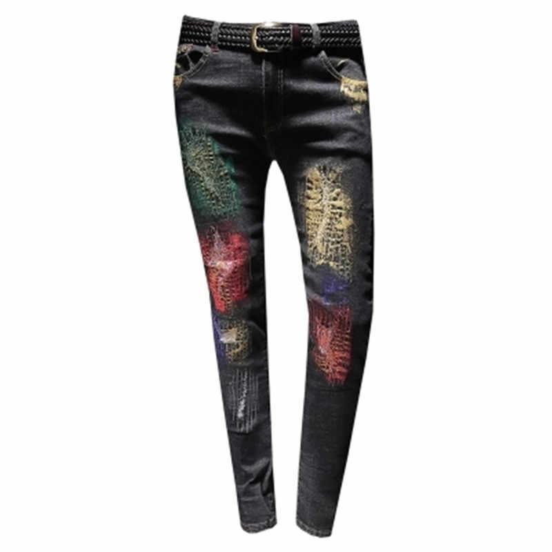 DIAOOAID 2018 新メンズジーンズデザインファッションバイカーヒップホップスリムジーンズ穴印刷ユーズド加工男性破れ