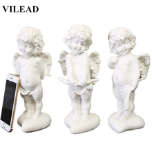 VILEAD 9.8 Nature Sandstone Lovely Angel Statuettes Creative Handmade White Figuines Home Decoration Accessories Crafts
