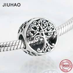 Round shape 925 Sterling Silver family is where love grows DIY fine beads Fit Original Pandora Charm Bracelet Jewelry making