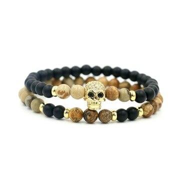 2Pcs/Set 6 mm Beaded Strand Bracelets Skeleton Skull Bracelet For Men Women Jewelry