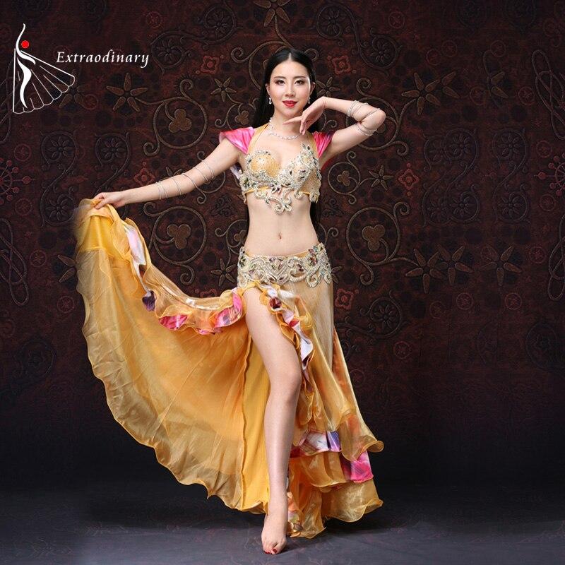 Oriental Dance Costume Golden Belly Dance Costume With Push Up Bra 3 Pieces Bra Belt Skirt