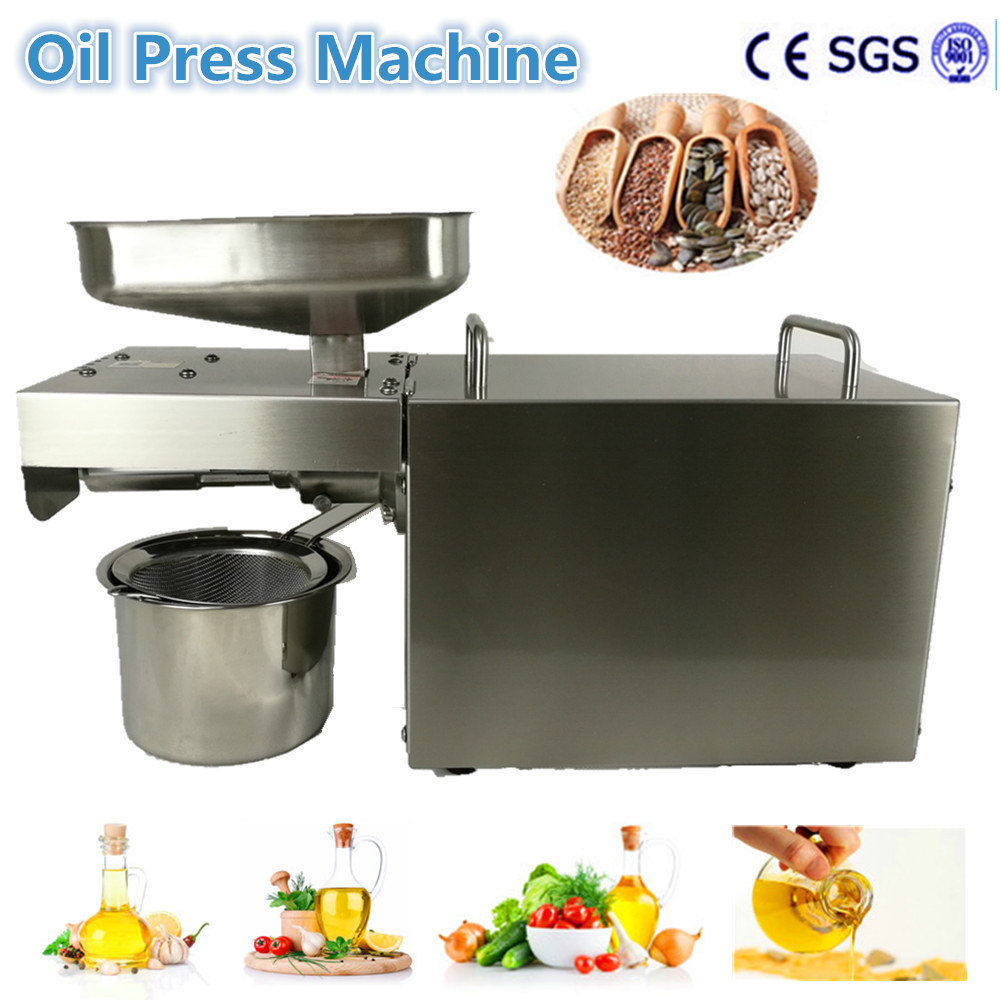 Free Ship Stainless steel Oil presser 180-240V Oil press machine Cold&Hot oil presser for sesame/Melon seeds/Rapeseed/flax