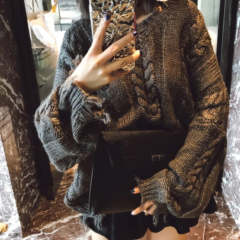 2018 automne nouveau design boîte de nuit grossier irrégulière femmes pulls et chandails col en v torsadé gland épaissir pull hauts